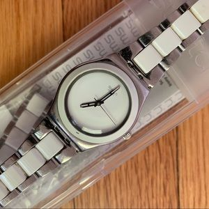 Swatch silver and white watch